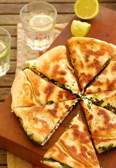 Turkish 'pizza' with spinach and feta cheese.