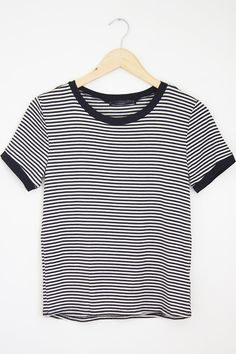 """Striped Ringer Tee (small) USE CODE """"MOVING15"""" FOR 15% OFF"""