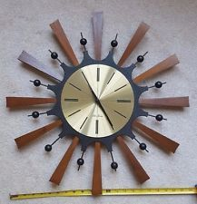 VTG MID CENTURY MODERN SUNBURST STARBURST BRASS WOOD WALL CLOCK ...