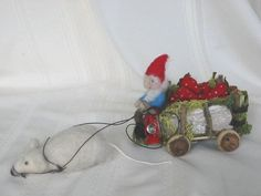 """Forest Whimsy """"Market Cart"""" being driven by gnome and pulled by mouse.  In autumn the bounty is pumpkins! Contact: forstwim@sonic.net"""