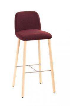 MYRA - Tabouret assise et dossier rembourré, chassis 4 pieds en bois -  Design Emilio 81ff59f3fcb3