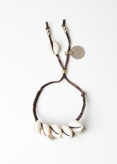 Braided Brown Leather Cowrie Shell Bracelet by SoulMakes