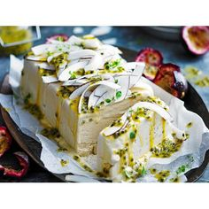 Sugar-free salted coconut and passionfruit semifreddo recipe - By Australian Women& Weekly, This divine dessert is the perfect finish to a summer barbeque. Sugar-free and dairy-free too, it will hit the spot! Coconut Desserts, Frozen Desserts, Frozen Treats, Just Desserts, Coconut Milk, Christmas Lunch, Christmas Desserts, Sugar Free Recipes, Sweet Recipes