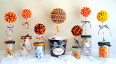 """HALLOWEEN IDEAS       """"Trick or Treat Topiaries""""      """"Witchy Wreath""""      """"Beware Banner""""      """"Eyeball Wreath""""      """"Witch Shoe Cake Sta..."""