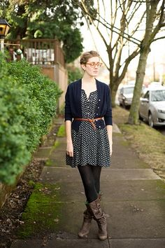 belted... I need to get a thin braided belt like this. I have so many dress/sweater combos that need one.