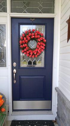 My spring door. Benjamine Moore, Old Navy Front Door Exterior Door Colors, Front Door Paint Colors, Painted Front Doors, House Paint Exterior, Front Door Decor, Exterior Doors, Paint Colours, Front Porch, Black Interior Doors