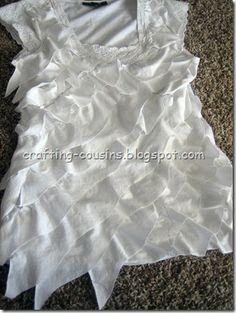 recycle t-shirt with diagonal ruffles!