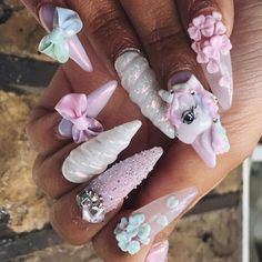 Nail art Christmas - the festive spirit on the nails. Over 70 creative ideas and tutorials - My Nails 3d Nail Designs, Creative Nail Designs, Creative Nails, Rose Nail Art, 3d Nail Art, Unicorn Nail Art, Unicorn Nails Designs, Unicorn Makeup, 3d Acrylic Nails