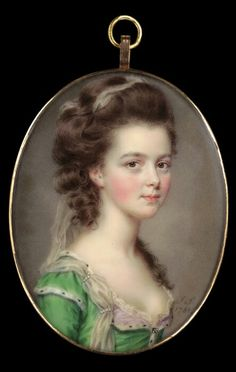John Smart (ca. 1740 - 1811) Portrait miniature of Mrs. Russell, 1781