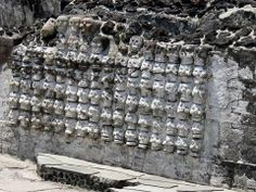 A tzompantli, or skull rack, at Templo Mayor, the main shrine of the Aztec capital of Tenochtitlan, one of many ancient sites that survive beneath Mexico City.  http://archaeology.org/issues/138-1407/features/mexico-city/2206-under-mexico-city-templo-mayor
