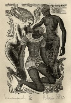 Mermaids, Blair Hughes-Stanton, 1932. Vignette of two mermaids with drowned sailor; wood-engraved illustration to Milton's 'Four Poems', published by Gregynog Press, 1933.