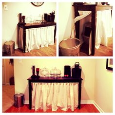 2 hidden kitty litter boxes. Under sofa table, concealed behind DIY curtains, hung with tension rods. Perfect for small apartment!