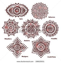 Isolated Set of beautiful ornamental 7 chakras - stock vector …