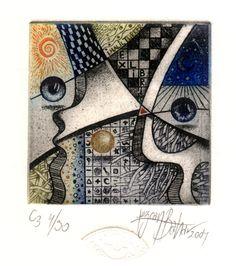 "Saatchi Art Artist Tezcan Bahar; Printmaking, """"Sun and Moon"""" #art"