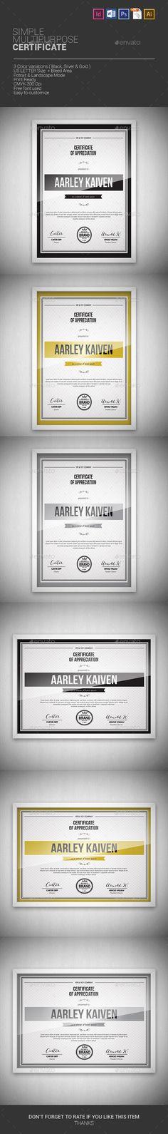 Simple Multipurpose Certificates - Certificates Stationery