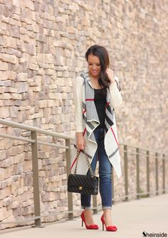 White Long Sleeve Plaid Knit Cardigan -SheIn(Sheinside)
