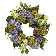 Nearly Round 22-inch Hydrangea Wreath