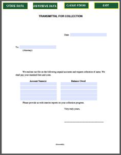 Transmittal Letter for Collection