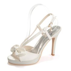 42.35$  Watch here - http://ali2qs.worldwells.pw/go.php?t=32401539152 - Sweet satin sandal shoes small platform sweet bow white ivory pink blue purple champagne party prom cocktail homecoming shoes 42.35$