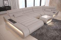 Luxury Sectional Sofa Concept U Shape Design Couch Big LED lights Ottoman - White Sofa - Ideas of White Sofa - Luxury Sectional Sofa Concept U Shape Design Couch Big LED lights Ottoman Price :