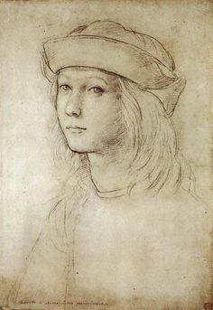 loquaciousconnoisseur:    Raphael  Self-Portrait (c. 1499)  Ashmolean Museum, Oxford  [Inscribed along lower margin: Ritratto di se medissimo quando Giovane]