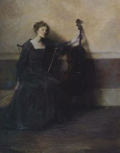 """""""Lady with a Cello"""" by Thomas Wilmer Dewing"""