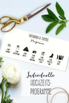 Legt euren Gästen diesen schönen Ablaufplan eures großen Tages in die Einladung oder an den Platz. Dann steht der guten Stimmung nichts mehr im Weg!