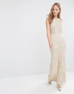 Maya High Neck Maxi Dress with Art Deco Embellishment