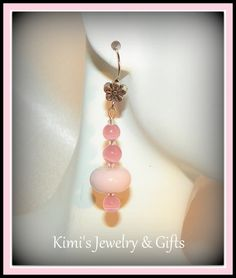 Earrings  Pink Cats Eye & Pink Lamp Work Glass by kidalski on Etsy, $11.11