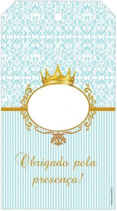 "Convites Digitais Simples: Kit Personalizado Tema ""Coroa Azul Menino"" para Imprimir"
