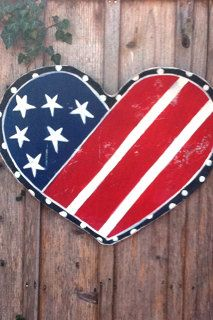 Door Decor Red White and Blue Heart <3  #4thofjuly
