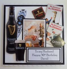 If you need any help with your Card Making please post a comment, and I will get back to you as soon as I can. Personalised Cards, Guinness Draught, Happy 50th Birthday, Your Cards, Card Making, Art, Personalized Cards, Art Background, Kunst