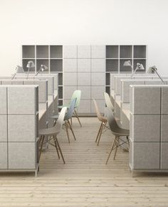 Material of the Month: //Felt//  This sound-absorbing office furniture was designed to quieten open-plan workspaces.: