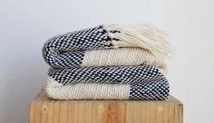 Blue blanket, Wool blanket, Blue Ecru Striped wool sheep handwoven blanket, Natural eco home decor
