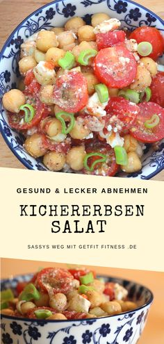 Delicious chickpea salad with feta and tomatoes. I'll show you delicious recipes for losing weight without starving yourself. Chickpea salad with tomatoes and feta - Raw Food Recipes, Diet Recipes, Healthy Recipes, Fromage Vegan, Feta Salat, Couscous Salat, Chickpea Salad, Tzatziki, Healthy Nutrition