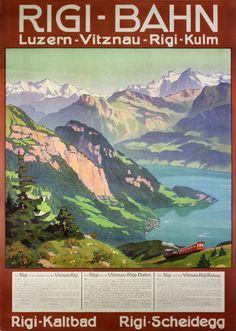 Vintage poster: Orignal vintage poster: Rigi-Bahn Luzern - Vitznau - Rigi - Kulm for sale at posterteam.com