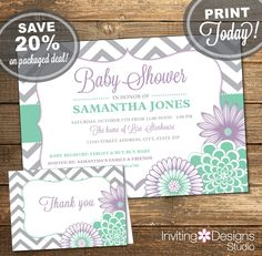 Baby Shower Package, Invitation, Thank You Card, Mint Green, Lavender, Purple, Chevron, Floral, Flowers, Printable File (INSTANT Download) by InvitingDesignStudio on Etsy