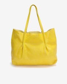 Nina Ricci Yellow Pleated Leather Tote
