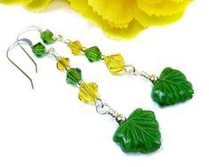 Green Yellow Earrings Crystal Earrings Leaf Earrings Long @prettygonzo #handmade #leaf #earrings