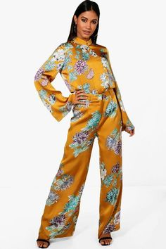 Megan Premium Oriental Floral Wide Leg Trouser