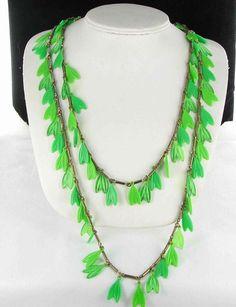 Bright lime green LEAF vintage plastic necklace
