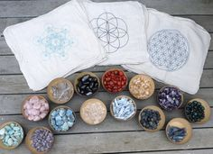 CRYSTAL GRID CLOTHS --- set of 3 -- 100% cotton, all natural, sacred geometry, grid templates on Etsy, $34.99
