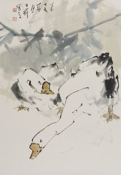 Leslie Goh, Geese, Chinese ink and pigments on rice paper