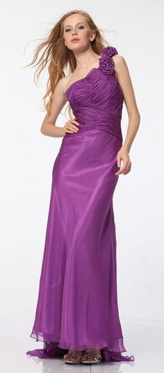 Purple One Shoulder Dress Prom Formal Chiffon W/Train Floral Strap   69,99$