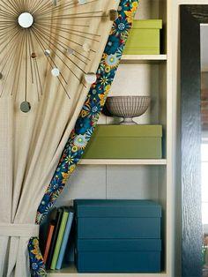 vorhang und gardinendekoration beispiele spiegel buchregal