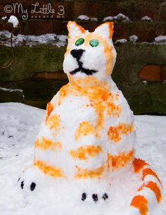 kitty cats, idea, snow paint, outdoor fun, art, food coloring, paintings, paint snow, kiddo
