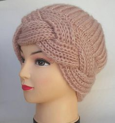 Hat, Beret, Knitting beret, Handmade hats, Women h Winter Knit Hats, Winter Hats For Women, Women Hats, Baby Knitting Patterns, Hand Knitting, Crochet Patterns, Mode Turban, Knit Crochet, Crochet Hats