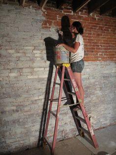 Lime washing brick and distressing
