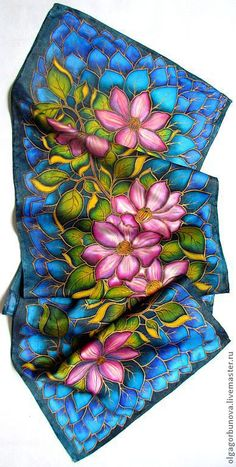 "Batik scarf ""Clematis"" - OlgaPastukhovaArt - Livemaster https://www.livemaster.com/item/2413755-batik-batik-scarf-clematis"