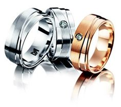 Meister White gold wedding ring set with 1x Diamond   Meister Rose gold wedding ring set with 1x Diamond